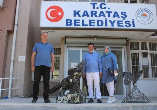 Başkan Topuz'a geri dönüştürülebilir atıklardan Bozkurt Heykeli