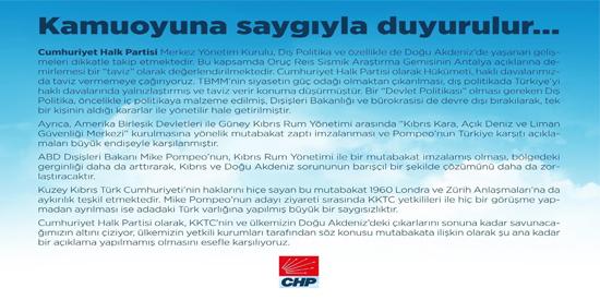 Olağanüstü toplantının ardından CHP MYK'dan Doğu Akdeniz çağrısı!