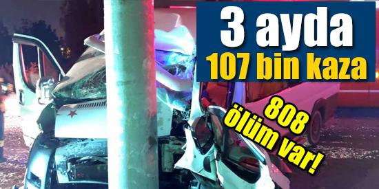 Türkiye'de 3 ayda 107 bin kazada 808 kişi hayatını kaybetti