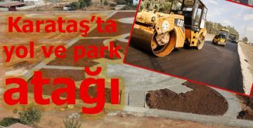 Karataş ilçesinde park ve asfaltlama çalışması