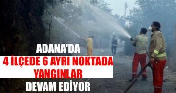 Adana'da 4 İlçede 6 Ayrı Noktada Yangınlar Devam Ediyor