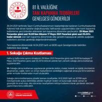 81 İl Valiliğine 29 Nisan – 17 Mayıs tarihleri arasında alınacak olan tedbirlerle ilgili Tam Kapanma Tedbirleri Genelgesi gönderildi